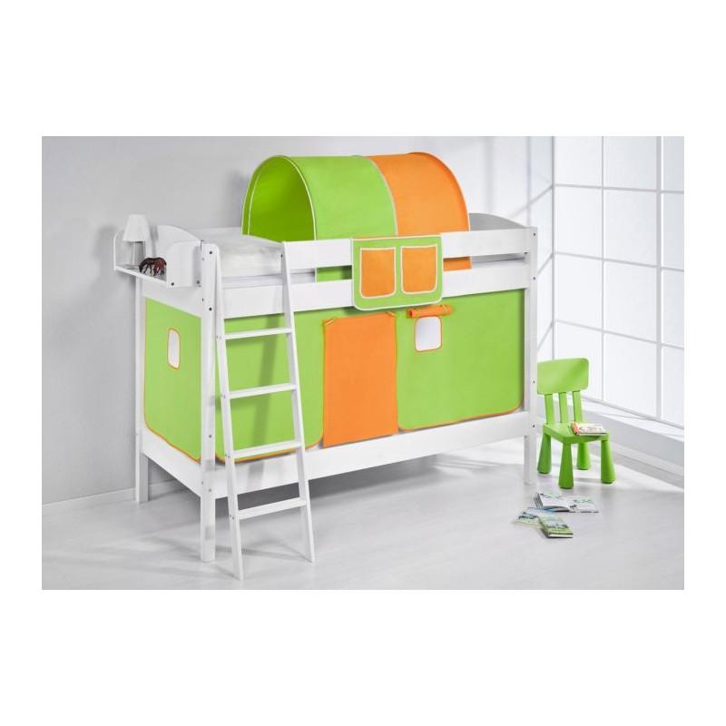 comprar litera creta con cortinas verde naranja y somieres